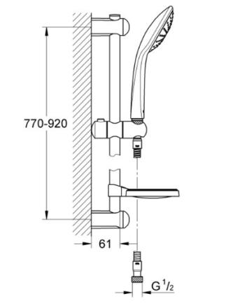 Grohe Euphoria 110, Brausestangenset 900mm, 1 Strahlart, variables oberes Bohrloch zur Befestigung, chrom -