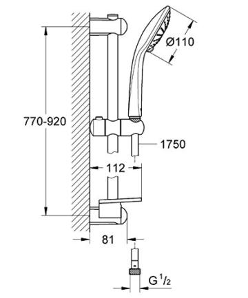 Grohe Euphoria 110, Brausestangenset 900mm, 2 Strahlarten Duo, variables oberes Bohrloch zur Befestigung, chrom -