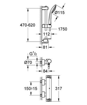GROHE Grohtherm 2000 Duschkombination (mit Thermostat, variable Bohrlöcher zur Befestigung), Thermostatset, 34195001 -