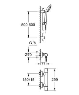 GROHE Precision Joy Thermostat-Brausebatterie mit Brausegarnitur, 34339000 -