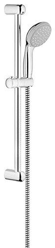 Grohe Tempesta 100 Brausestangenset (600 mm, 1 Strahlarten, feste Bohrlöcher zur Befestigung, mit Durchflussbegrenzer) chrom, 27924000 -