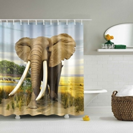 GWELL Tier Wasserdichter Duschvorhang Anti-Schimmel inkl. 12 Duschvorhangringe für Badezimmer 180x200cm Elefant -