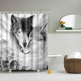 GWELL Tier Wasserdichter Duschvorhang Anti-Schimmel inkl. 12 Duschvorhangringe für Badezimmer 180x180cm Wolf -