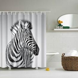 GWELL Tier Wasserdichter Duschvorhang Anti-Schimmel inkl. 12 Duschvorhangringe für Badezimmer 180x200cm Zebra -