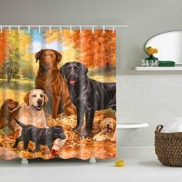 GWELL Tier Wasserdichter Duschvorhang Anti-Schimmel inkl. 12 Duschvorhangringe für Badezimmer 180x180cm Hund -
