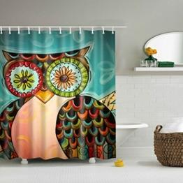GWELL Tier Wasserdichter Duschvorhang Anti-Schimmel inkl. 12 Duschvorhangringe für Badezimmer 180x180cm Eule -