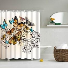 GWELL Tier Wasserdichter Duschvorhang Anti-Schimmel inkl. 12 Duschvorhangringe für Badezimmer 180x200cm Schmetterling -