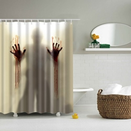 GWELL Top Qualität Anti-Schimmel Duschvorhang Digitaldruck inkl. 12 Duschvorhangringe für Badezimmer Art-G 180x180cm -