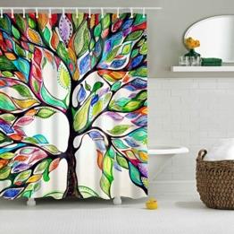GWELL Top Qualität Anti-Schimmel Duschvorhang Digitaldruck inkl. 12 Duschvorhangringe für Badezimmer Art-I 180x200cm -