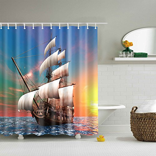 duschvorhang piraten strand meer 180x180cm gwell der badarmaturen. Black Bedroom Furniture Sets. Home Design Ideas