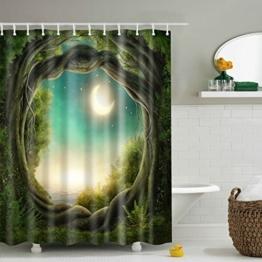 GWELL Top Qualität Anti-Schimmel Duschvorhang Digitaldruck inkl. 12 Duschvorhangringe für Badezimmer Art-M 180x180cm -