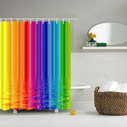 GWELL Top Qualität Anti-Schimmel Duschvorhang Digitaldruck inkl. 12 Duschvorhangringe für Badezimmer Art-D 180x200cm -
