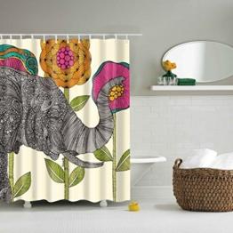 GWELL Top Qualität Anti-Schimmel Duschvorhang Digitaldruck inkl. 12 Duschvorhangringe für Badezimmer Art-E 180x200cm -