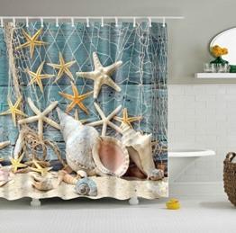 GWELL Top Qualität Anti-Schimmel Duschvorhang Digitaldruck inkl. 12 Duschvorhangringe für Badezimmer Art-H 180x200cm -