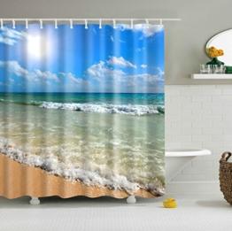 GWELL Top Qualität Anti-Schimmel Duschvorhang Digitaldruck inkl. 12 Duschvorhangringe für Badezimmer Art-J 180x200cm -