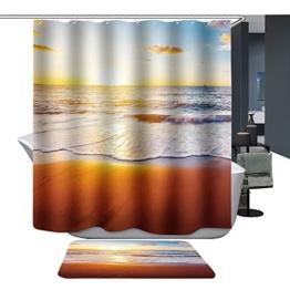 Harson&Jane Hochwertige Digitaldruck dickerem Material ist wasserdicht DuschvorhangGröße:180*180 180*200 (180*200, Beach1) -