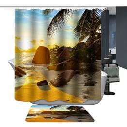 Harson&Jane Hochwertige Digitaldruck dickerem Material ist wasserdicht DuschvorhangGröße:180*180 180*200 (180*200, Beach2) -
