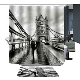 Harson&Jane Hochwertige Digitaldruck dickerem Material ist wasserdicht DuschvorhangGröße:180*180 180*200 (180*180, London Bridge 1) -