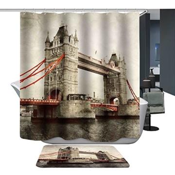 Harson&Jane Hochwertige Digitaldruck dickerem Material ist wasserdicht DuschvorhangGröße:180*180 180*200 (180*200, London Bridge 2) -