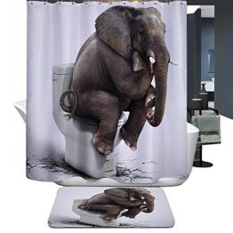 Harson&Jane Hochwertige Digitaldruck dickerem Material ist wasserdicht DuschvorhangGröße:180*180 180*200 (180*180, Elefant) -