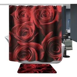 Harson&Jane Hochwertige Digitaldruck dickerem Material ist wasserdicht DuschvorhangGröße:180*180 180*200 (180*200, Rose) -