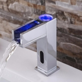 hbbobo LED Sensor Automatik Berührungslose Badezimmer Waschbecken Wasserhahn Chrom LED Wasserhahn Wasserfall Spüle Armatur Wasserhahn Torneira Para banheiro, chrom -