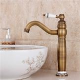 Hiendure® Waschbecken Wasserhahn Messing antik einzigen Handgriff centerset Wasserhahn(Antique Brass) -