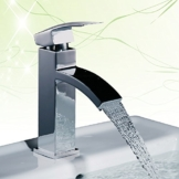 Homelody Chrom Wasserfall Armatur Bad Wasserhahn Einhebel Mischbatterie Badarmatur Waschtischarmatur Waschbeckenarmatur Einhebelmischer Waschtischbatterie für badzimmer -