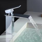 Homelody Chrom Wasserhahn bad Wasserfall Waschtischarmatur Armatur Waschbeckenarmatur Einhebelmischer Waschtischbatterie Badarmatur für Bad -