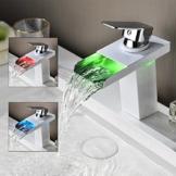 Homelody Chrome Wasserhahn Bad RGB LED mit 3 Farbewechsel Wasserfall Armatur Elegant Design Waschbeckenarmatur Mischbatterie Bad Badzimmer -