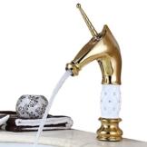 Homelody Einhorn Vergoldet Einhebel Wasserhahn Badarmatur Waschtischarmatur Waschbecken Mischbatterie für Bad -