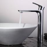 Homelody Hohe Chrom Einhebelmischer Wasserhahn Waschbecken Waschtisch Waschtischarmatur Armatur Mischbatterie Badarmatur Waschbeckenarmatur für Badzimmer -