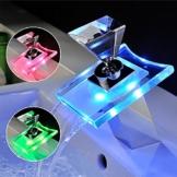 Homelody LED Einhebel Waschbecken Wassserhahn 3 Farben Wasserfall Armatur Wasserhahn Waschtischarmatur Badezimmer Badarmatur Waschtisch RGB Mischbatterie Bad -