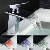 Homelody LED RGB Wasserfall Wasserhahn Waschtischarmatur Waschbeckenarmatur Einhebel Mischbatterie Wasserhahn f.Badzimmer -