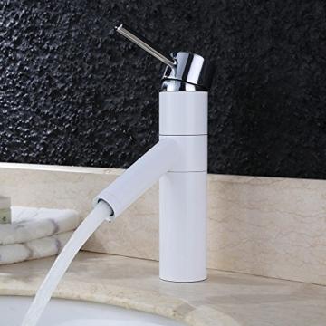 Homelody Niederdruck Wasserhahn Weiss Einhebel Badearmatur Einhebelmischer Waschtischarmatur Mischbatterie Waschbeckenarmatur für Badzimmer -