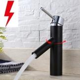 Homelody Schwarz Niederdruck Armatur Wasserhahn Bad Armaturen Waschbeckenarmatur Einhebelmischer Waschtischbatterie Badarmatur für Badezimmer -