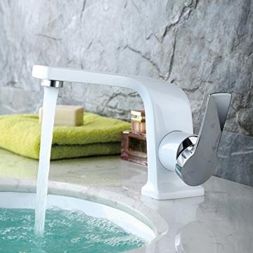 Homelody Weiss Lack Chrom Wasserhahn Einhebelmischer Badarmatur Waschtischarmatur Waschbeckenarmatur Armatur Bad Mischbatterie für Badzimmer -