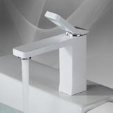 Homelody Weiss Lack Einhebelmischer Wasserhahn bad Armaturen Waschtisch Waschbecken Armatur Mischbatterie Badarmatur Waschtischarmatur Waschbeckenarmatur  Armatur für Badezimmer -