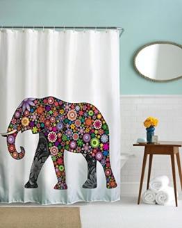 HROOME Wasserdichter Duschvorhänge Anti Schimmel 180x180cm Bunter Elefantdruck Badezimmer Duschvorhang Set Mit 12 Haken 150X180cm (180*200CM, Elephant-3) -