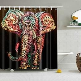 HROOME Wasserdichter Duschvorhänge Anti Schimmel 180x180cm Bunter Elefantdruck Badezimmer Duschvorhang Set Mit 12 Haken 150X180cm (180*180CM, Elephant) -