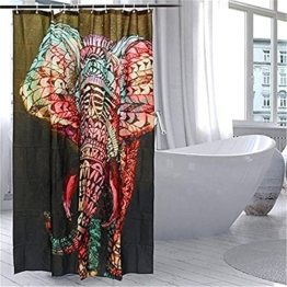 HROOME Wasserdichter Duschvorhänge Anti Schimmel 180x180cm Bunter Elefantdruck Badezimmer Duschvorhang Set Mit 12 Haken 150X180cm (150*180CM, Elephant) -