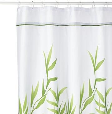 InterDesign Anzu Duschvorhang   waschbarer Duschvorhang in 180,0 cm x 200,0 cm   mit floralem Duschvorhang Motiv   Polyester grün -
