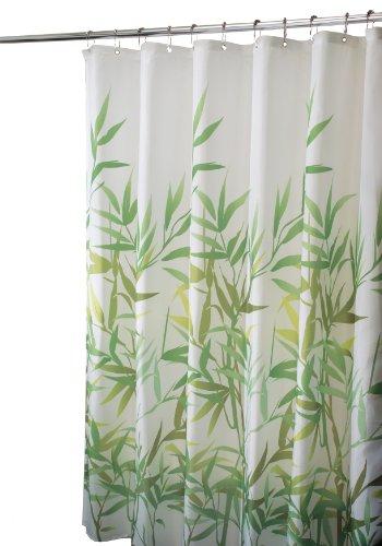 InterDesign Anzu Duschvorhang | waschbarer Duschvorhang in 183,0 cm x 183,0 cm | mit floralem Duschvorhang Motiv | Polyester grün -