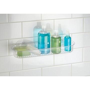 InterDesign Badezimmer-/Dusch-Caddy mit Saugnapf für Shampoo, Conditioner, Seife - Durchsichtig -