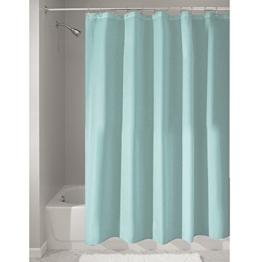 InterDesign Duschvorhang aus Stoff | wasserdichter Duschvorhang mit verstärktem Saum | waschbarer Textil Duschvorhang in der Größe 183,0 cm x 183,0 cm | Polyester mint -
