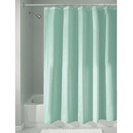 InterDesign Duschvorhang aus Stoff | wasserdichter Duschvorhang mit verstärktem Saum | waschbarer Textil Duschvorhang in der Größe 183,0 cm x 183,0 cm | Polyester aquablau -
