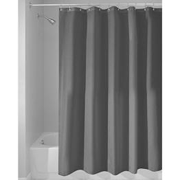 InterDesign Duschvorhang aus Stoff | wasserdichter Duschvorhang mit verstärktem Saum | waschbarer Textil Duschvorhang in der Größe 183,0 cm x 183,0 cm | Polyester dunkelgrau -