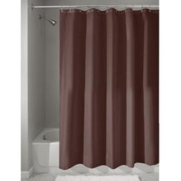 InterDesign Duschvorhang aus Stoff | wasserdichter Duschvorhang mit verstärktem Saum | waschbarer Textil Duschvorhang in der Größe 183,0 cm x 183,0 cm | Polyester schokobraun -