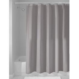 InterDesign Duschvorhang aus Stoff | wasserdichter Duschvorhang mit verstärktem Saum | waschbarer Textil Duschvorhang in der Größe 183,0 cm x 183,0 cm | Polyester grau -
