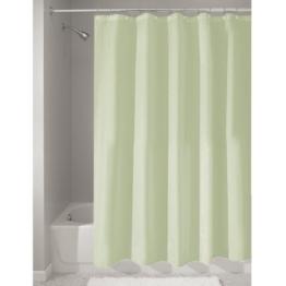 InterDesign Duschvorhang aus Stoff | wasserdichter Duschvorhang mit verstärktem Saum | waschbarer Textil Duschvorhang in der Größe 183,0 cm x 183,0 cm | Polyester grün -